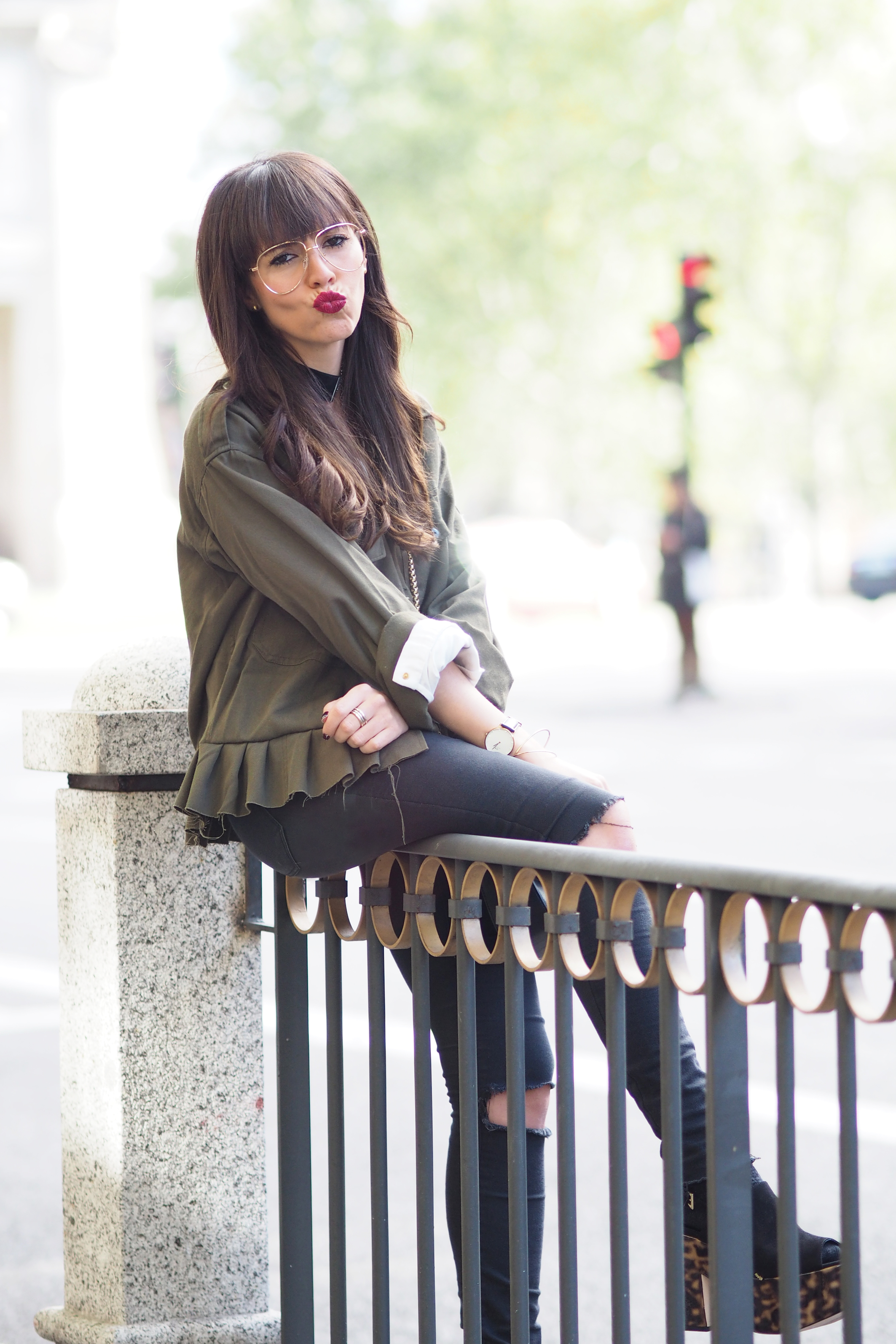 Peplum military shirt, Aviator Clear Lens, carey shoes, Street style, RetailMeNot