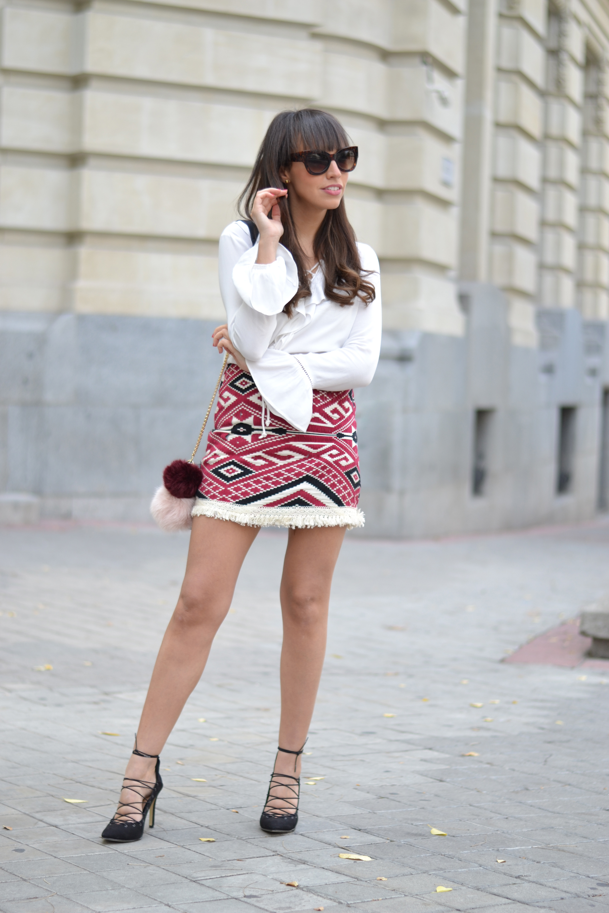 Street style, flounce shirt, ethnic print skirt, lace up shoes