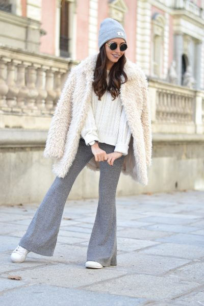 Winter outfit, street style, Warm white coat, knited flared pants, grey beanie