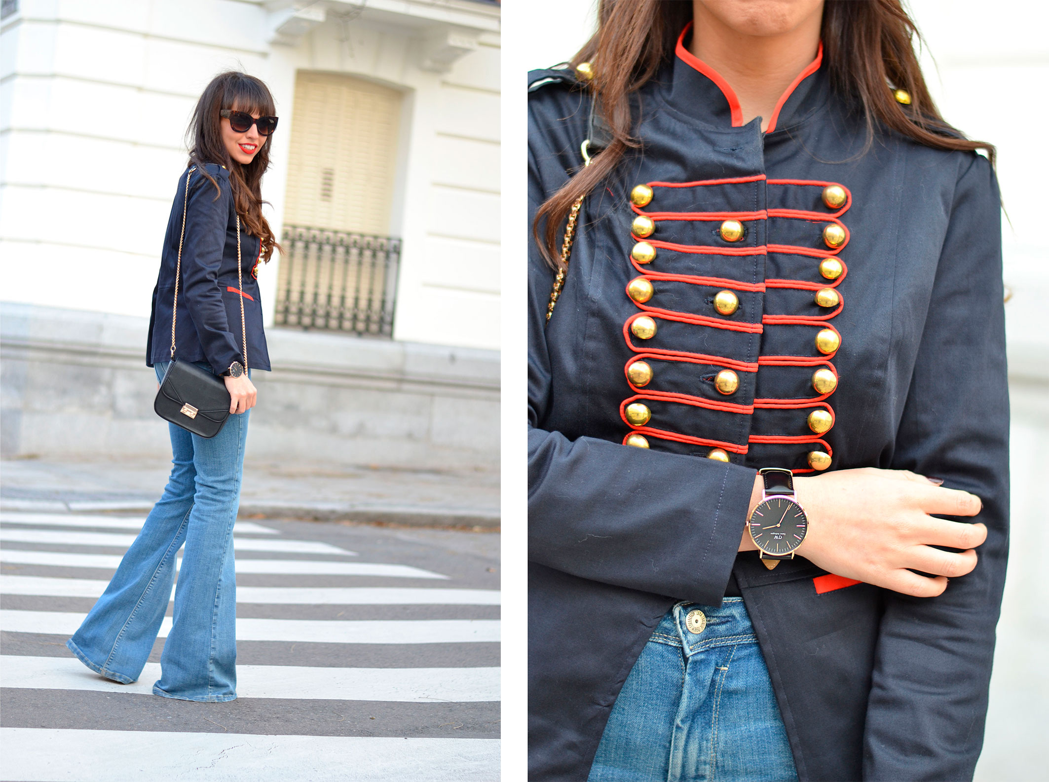 military jacket with red toggles, flared denim pants, street style, winter outfit, daniel wellington