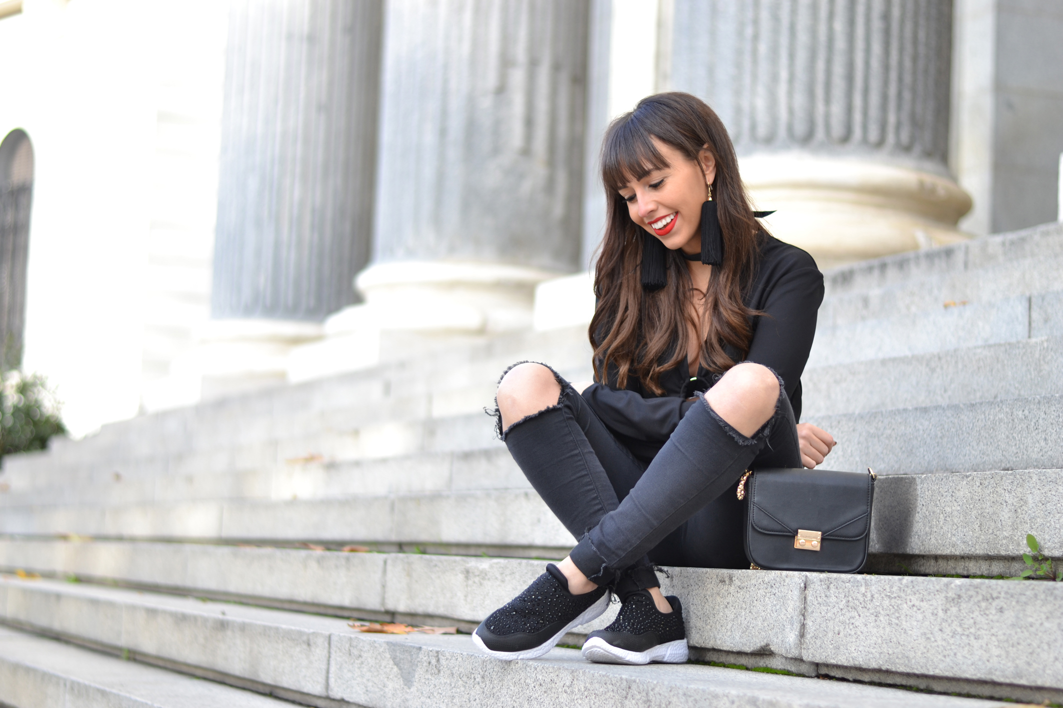 Street style, casual outfit, black crop top outfit ideas, jeweled sneakers