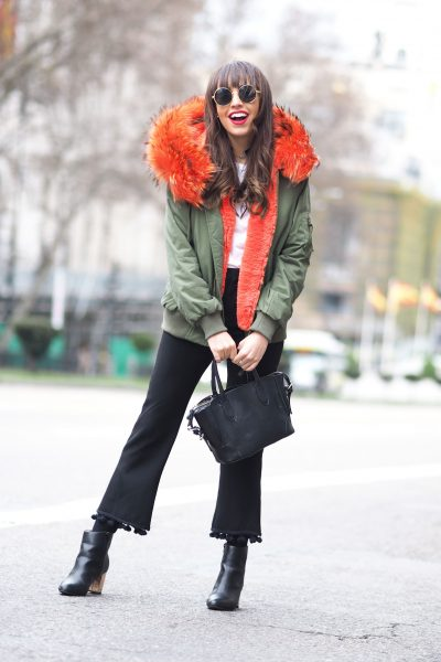 Color fur hoodie parka, pompom trousers, gold heel, street style