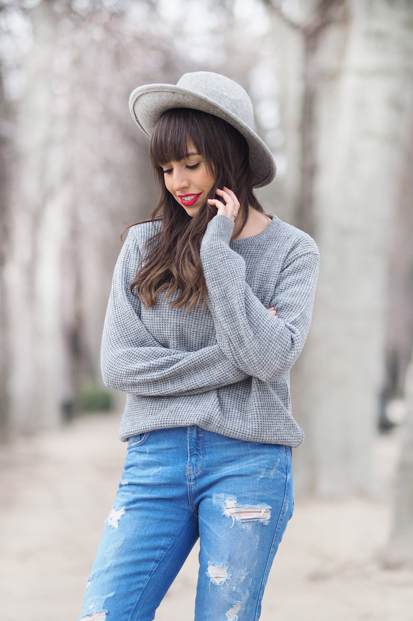 boho coat, boho outfit, tripti and co sweater, grey hat, street style