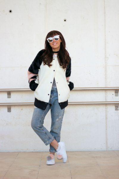 Bomber fluffly coat, pom pom sneakers, lace top, street style, wear wild