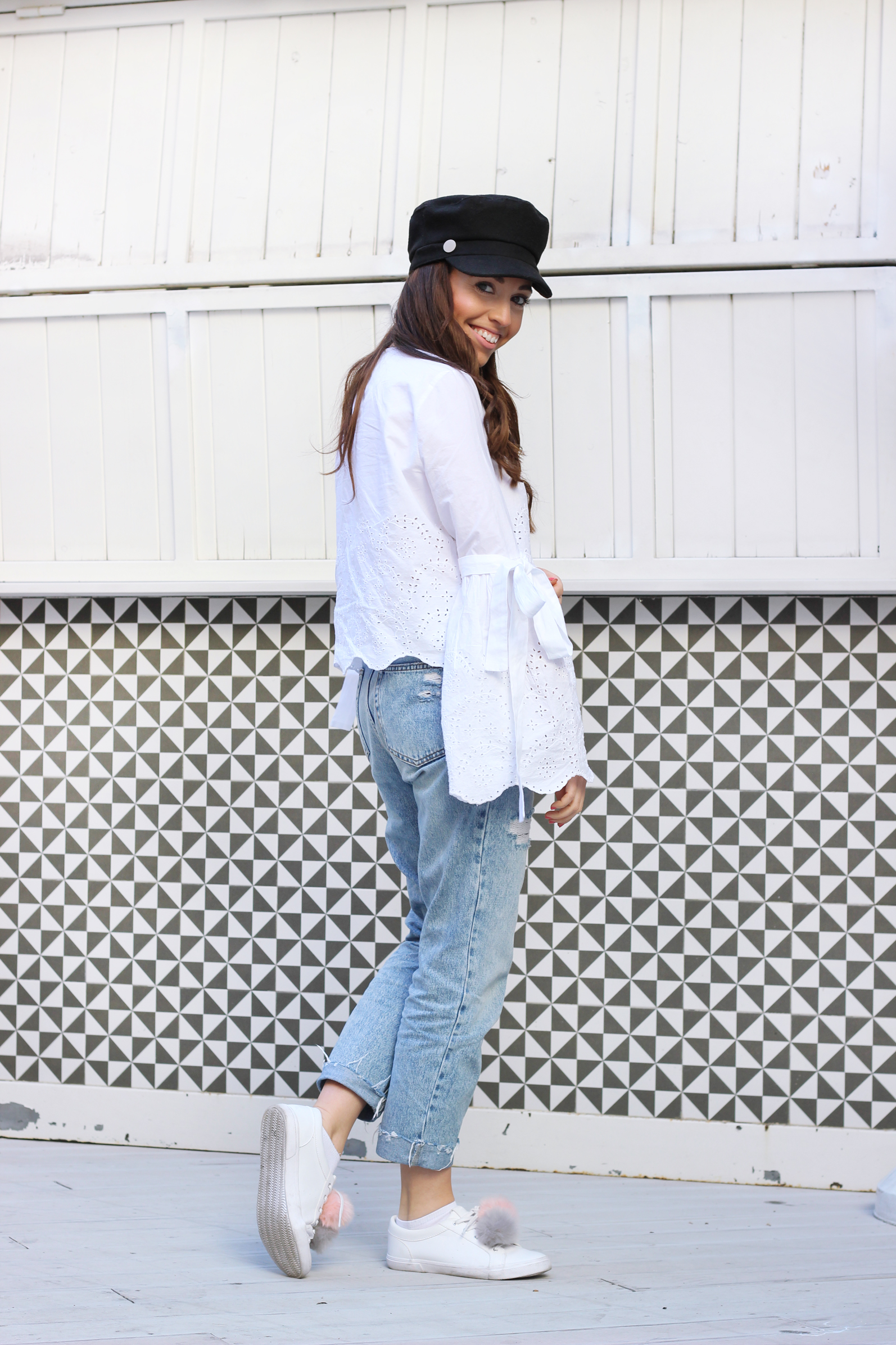 flared blouse, pompom sneakers, mom pants, spring outfit, street style