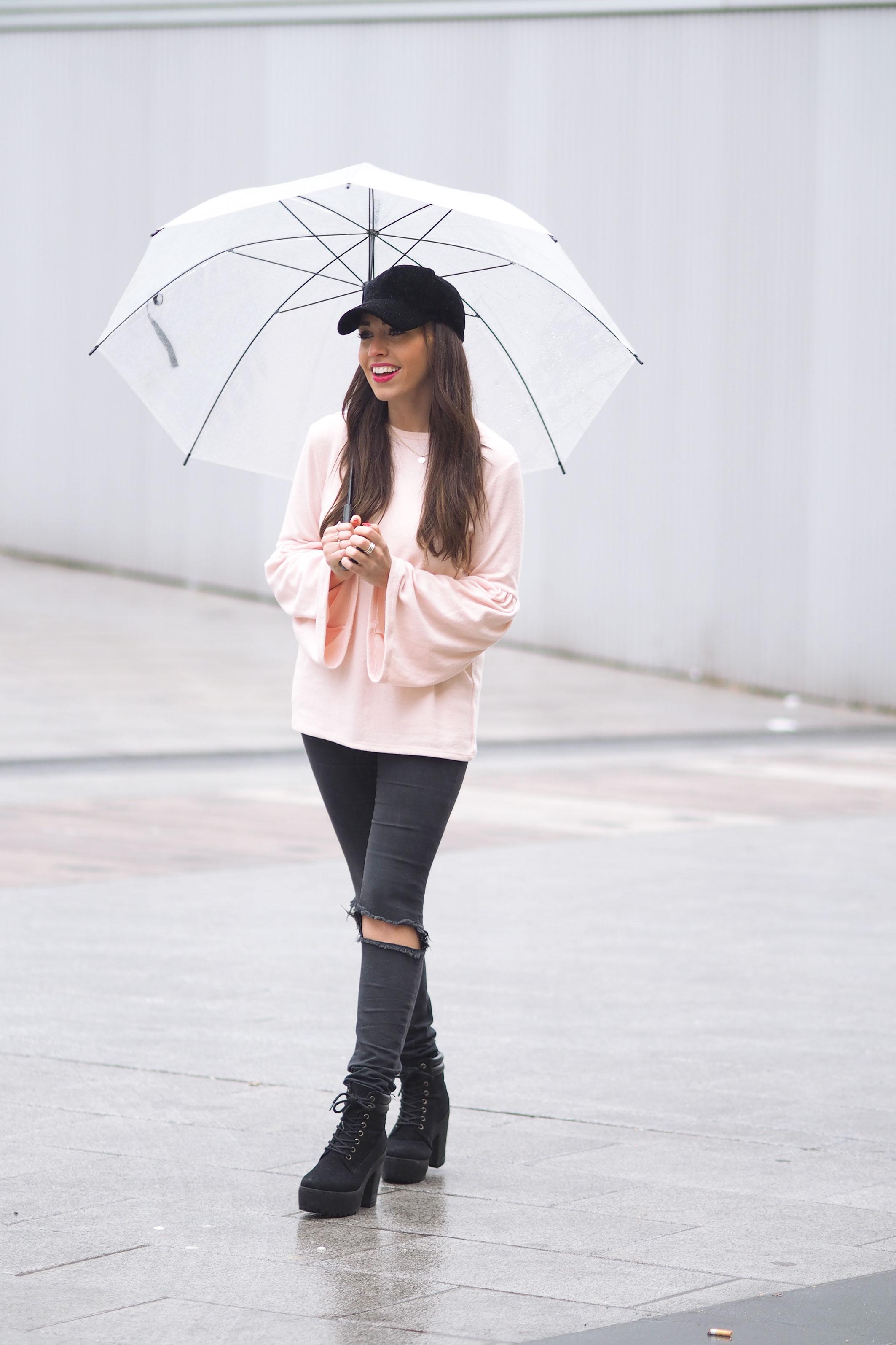Mint parka coat, Velvet black cap, flared pink sweater, wear wild, streetstye