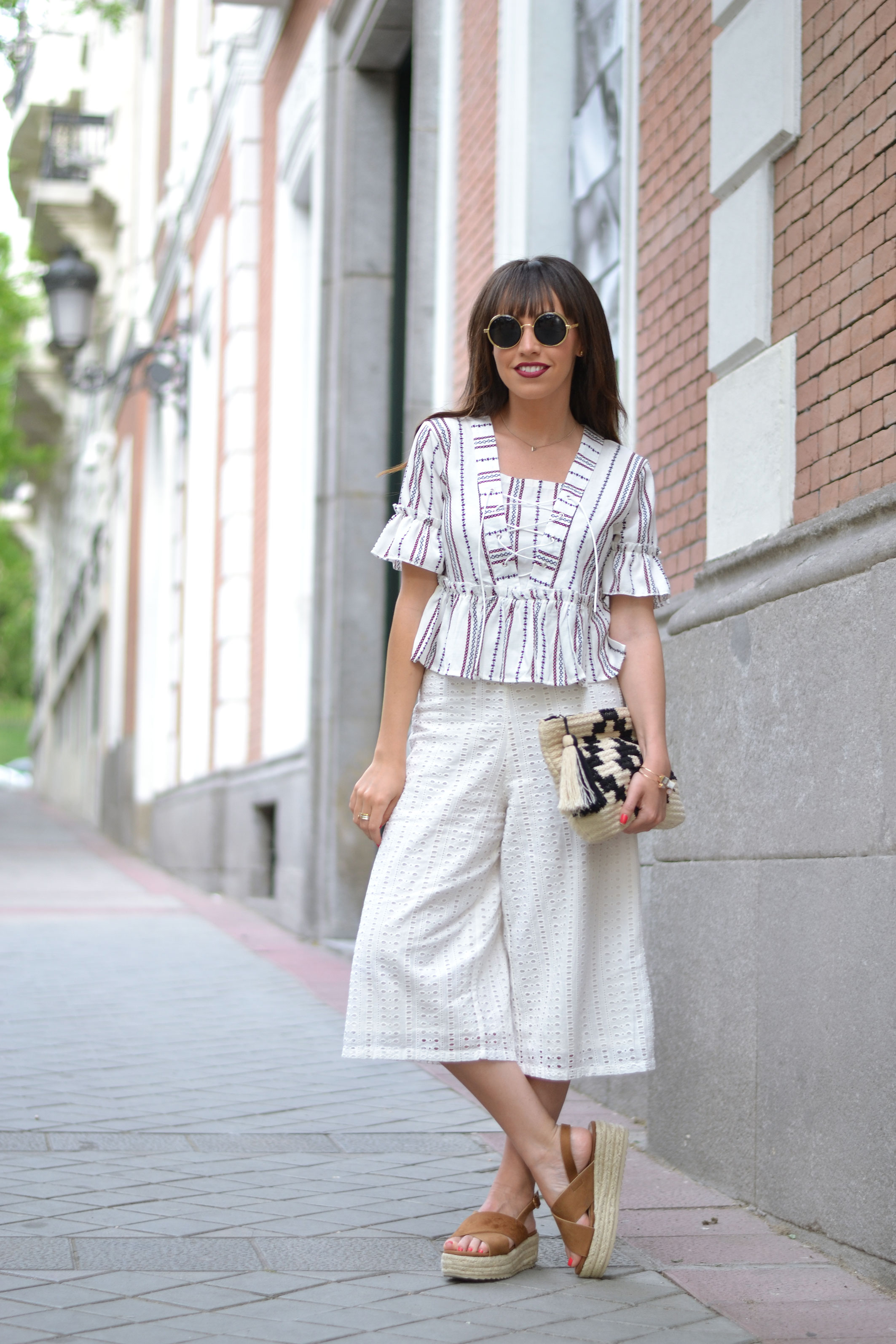 culotte pants, beige jacket, lace up blouse, spring outfit, street style