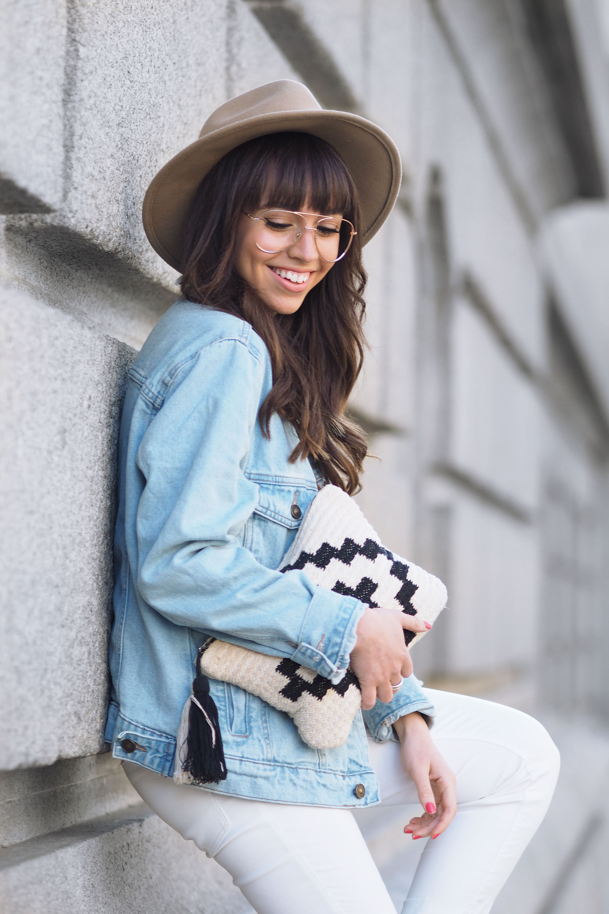 denim oversized jacket, sprint outfit, clear glasses, ethnic hat, street style, wear wild