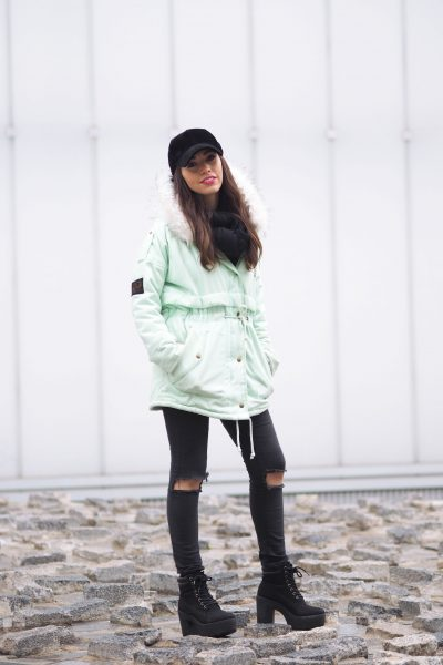 Mint parka coat, Velvet black cap, flared pink sweater, wear wild, streetstye