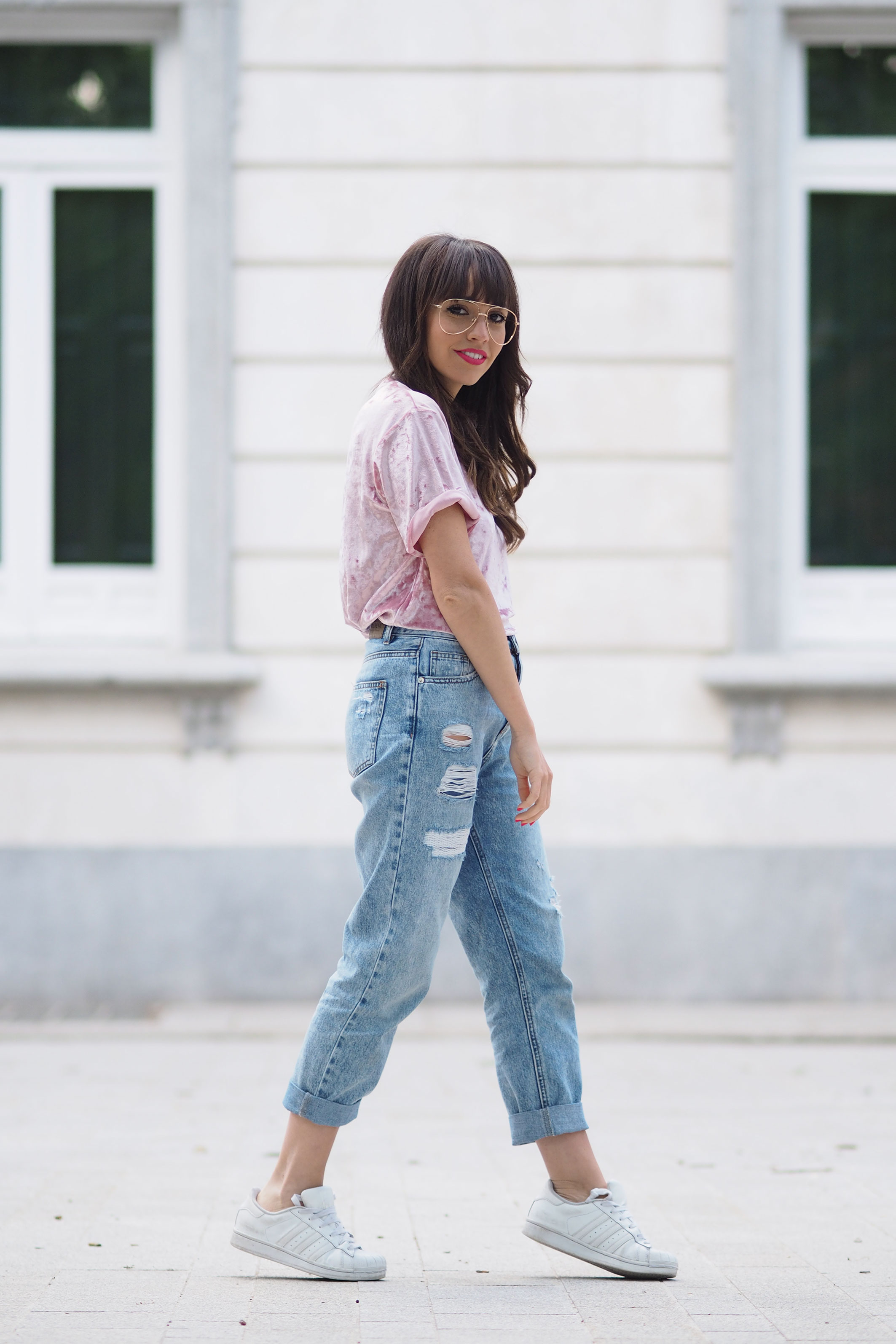 PINK VELVET TOP: SPRING OUTFIT