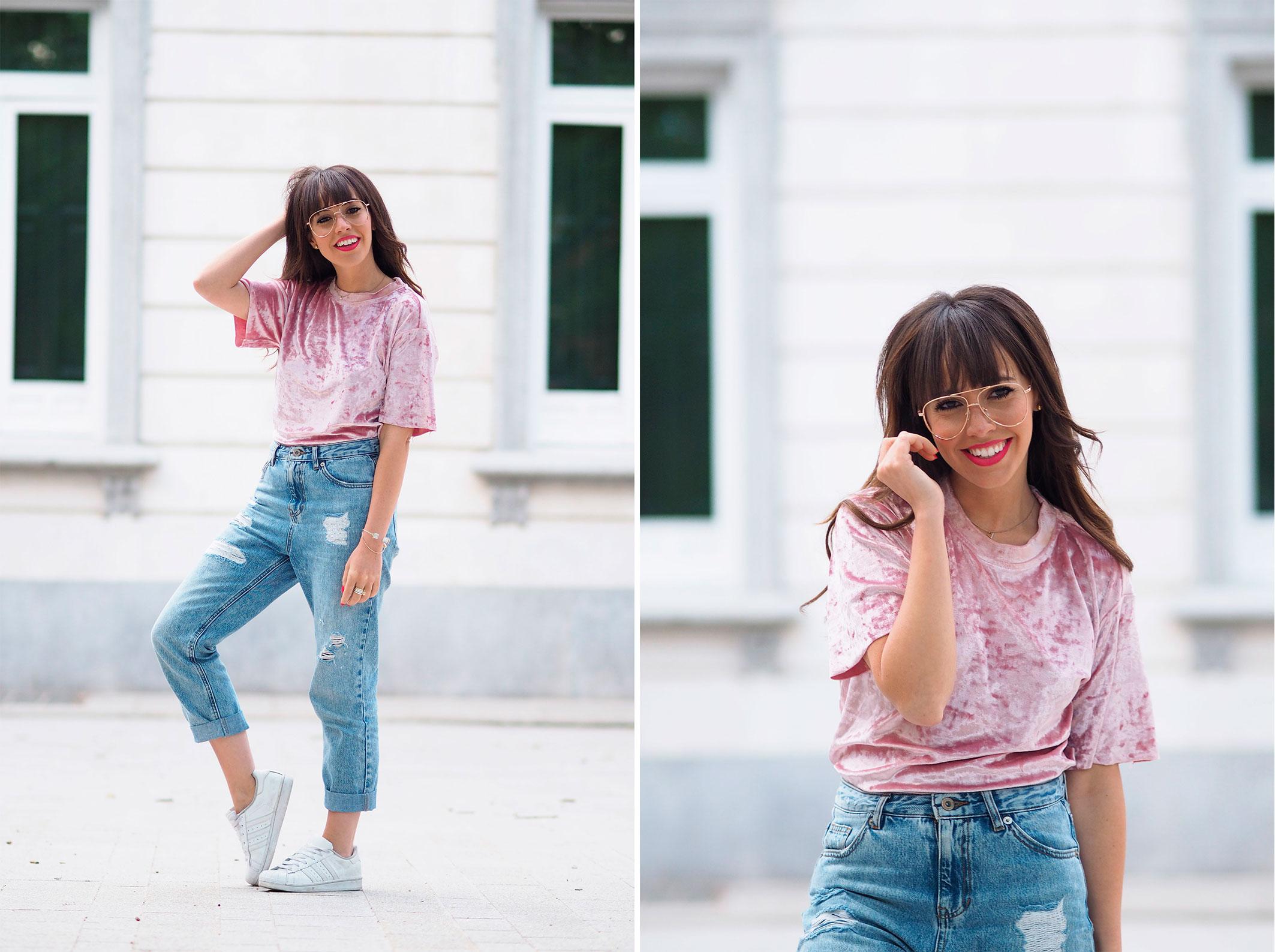 pink velvet top, mom jeans, street style, clear glasses