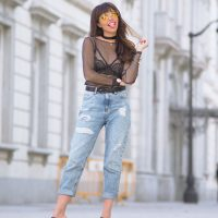 strap black lace bralette bra, tulle top, yellow lens sunglasses, mom jeans, street style, wear wild