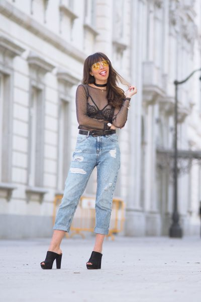 strap black lace bralette bra, tulle top, yellow lens sunglasses, mom jeans, street style, wear wild