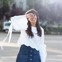 Summer vibes, street style, zapatillas victoria plataforma, flared sleaves, denim skirt