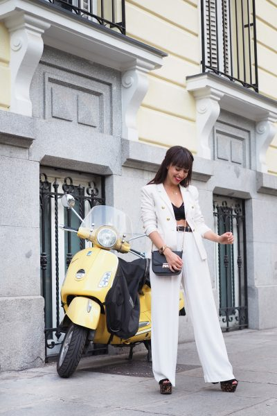 black and white outfit, palazzo pants, bralette top, street style, spring outfit