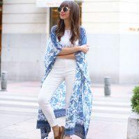 long floral kimono, total white outfit, street style