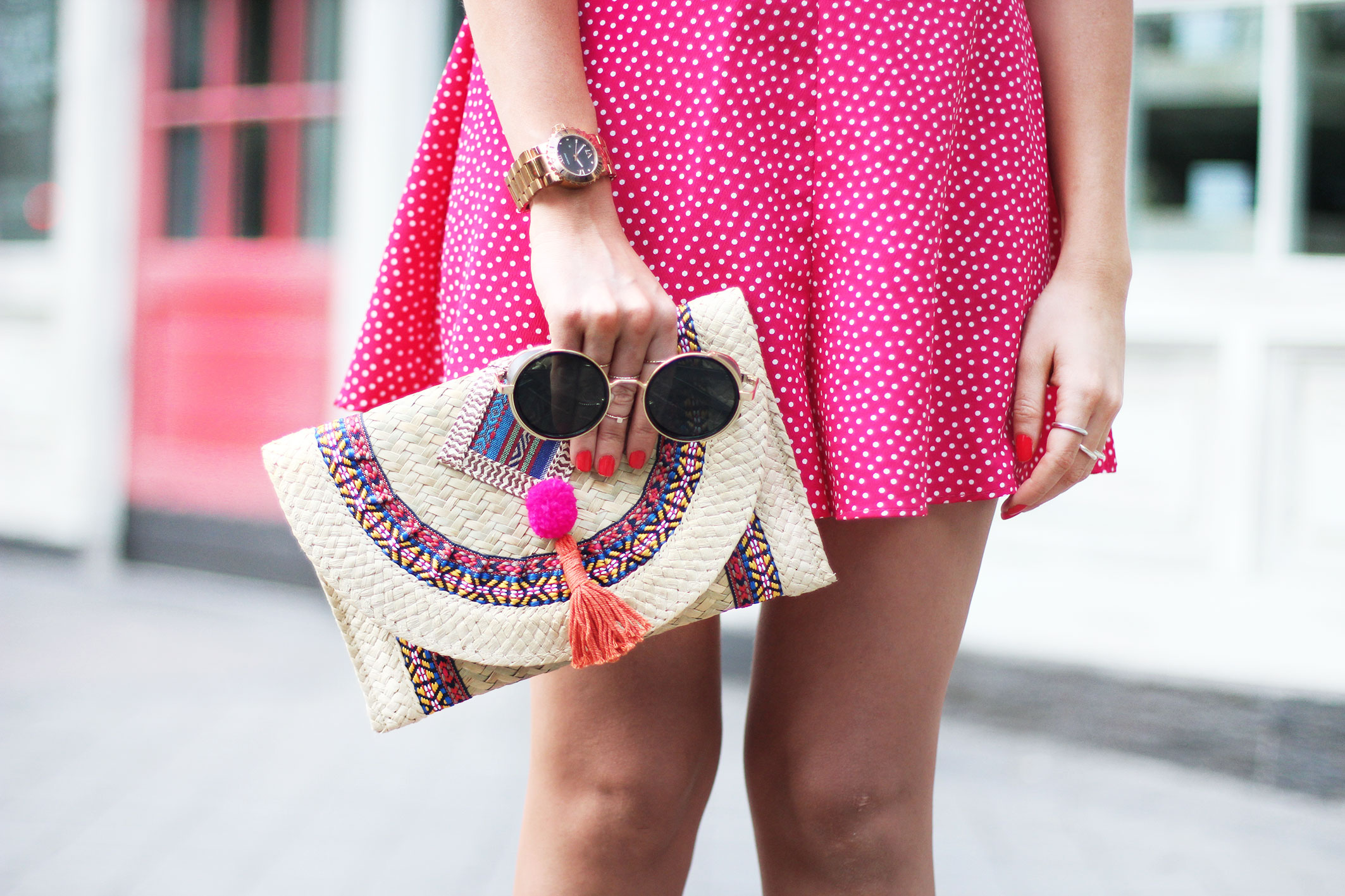 pink summer dress, street style, summer outfit