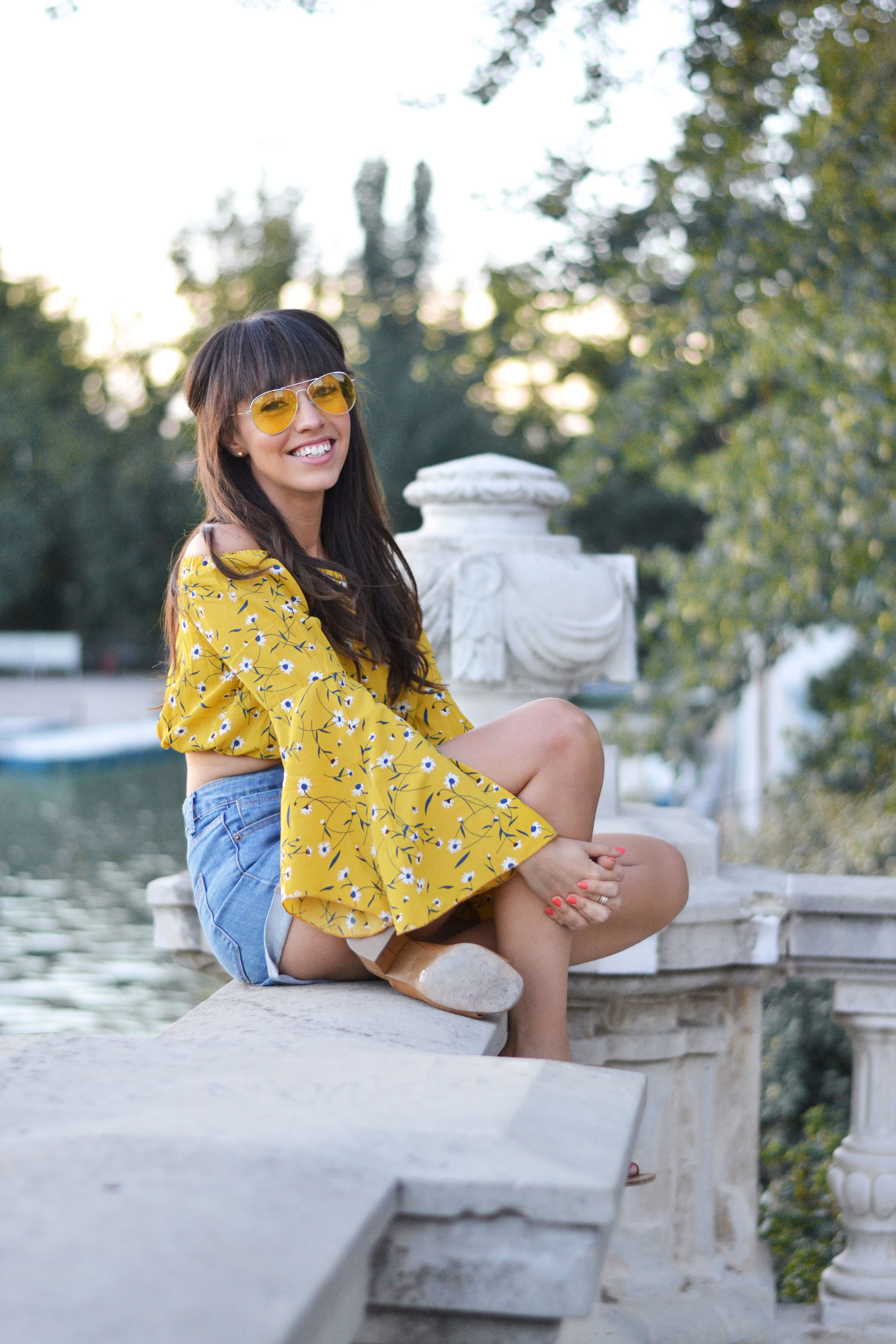 Summer outfit, long sleeve crop top, flared sleeve, yellow sunglasses, denim short, street style, wear wild