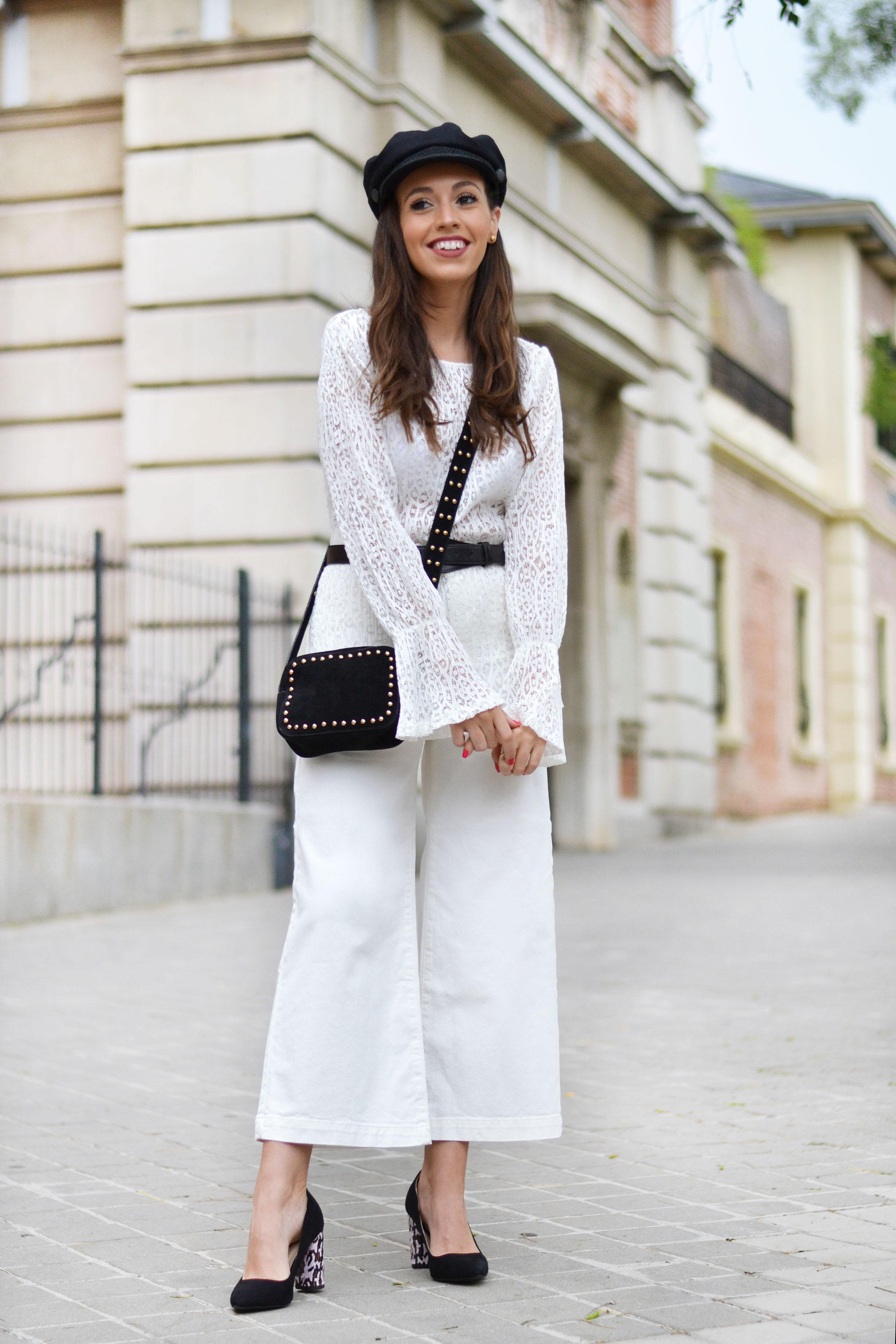 Back to the office outfit, black and white, street style, total white, la redoute