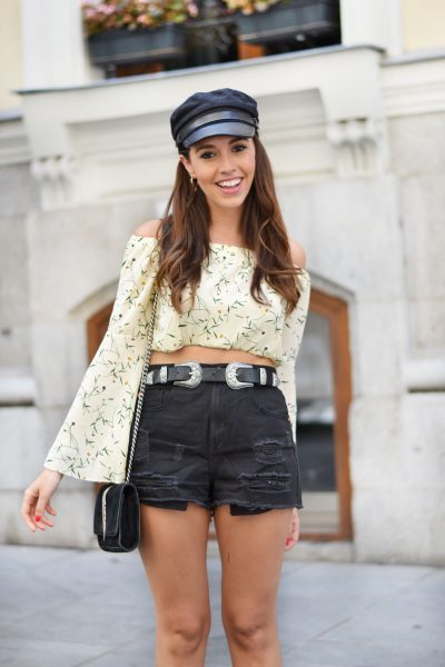 flared sleeves crop top, military cap, denim shorts, street style outfit