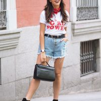 girl power t-shirt, feminist, denim shorts, wear wild, street style