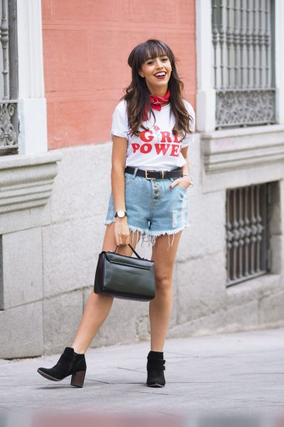 girl power t-shirt, feminist, denim shorts, wear wild, street style