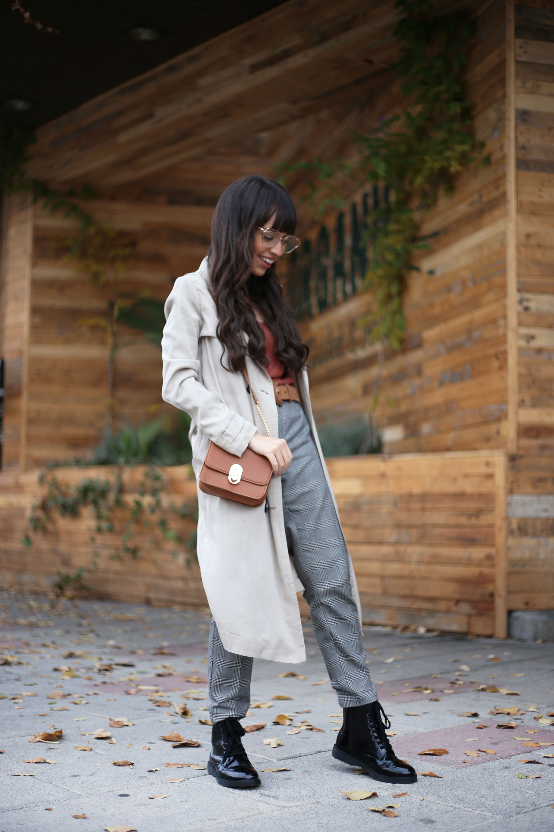 Open Shoulder Sweater, trench coat, checked pants, autumn outfit, street style