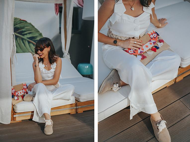 La redoute baño, coleccion verano, mono blanco, bolso pompones , outfits verano, street style